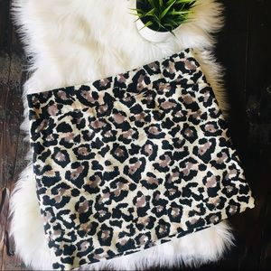 Anne Taylor LOFT Animal Print Leopard Skirt 12P